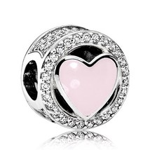 Valentine's 2017 Wonderful Love, Soft Pink Enamel & Clear CZ Charm Bead ... - €18,51 EUR