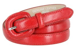 "Women's Skinny Snakeskin Embossed Genuine Leather Dress Belts 3/4"" or 19mm (R... - $9.85"