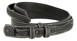Western Ranger Genuine Leather Bison Belt Strap for Men (Black, 46) - $29.65