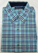 Nautica Aqua Blue Plaid Breakwater Short Sleeve Shirt - Size Small - $24.95