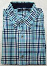 Nautica Aqua Blue Plaid Breakwater Short Sleeve Shirt - Size Small - $24.95