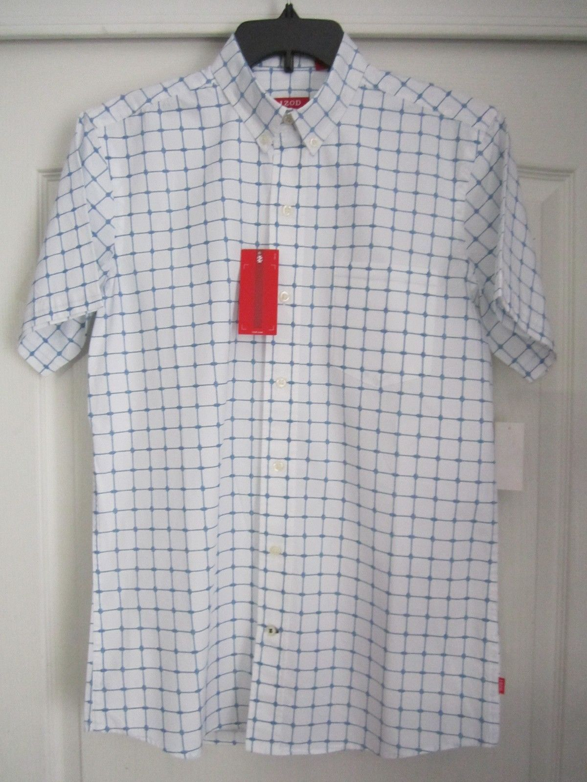 IZOD Plaids Button-Down Short Sleeve Men casual Shirt S SMALL MSRP $50 PC83
