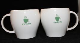Starbucks Coffee 2003 Barista 2 White Green Coffee / Tea Mug Cups Pair  - $23.82