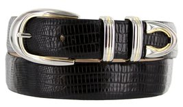 Coronado Italian Calfskin Leather Designer Dress Belts for Men (44, Lizard Bl... - $29.20