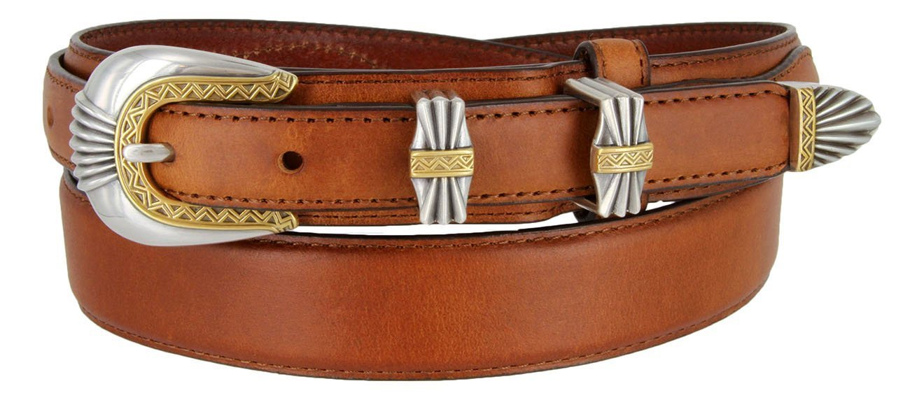 Silver and Gold Buckle Set Oil-Tanned Genuine Leather Western Ranger Belt for... - $27.71