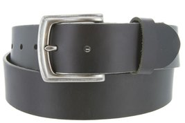 Big and Tall Mens Oil Tanned Solid Leather Belt with Vintage Metal Buckle(Bla... - $39.59