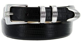 Silver Weave Italian Calfskin Leather Designer Dress Belts for Men(48, Lizard... - $29.20