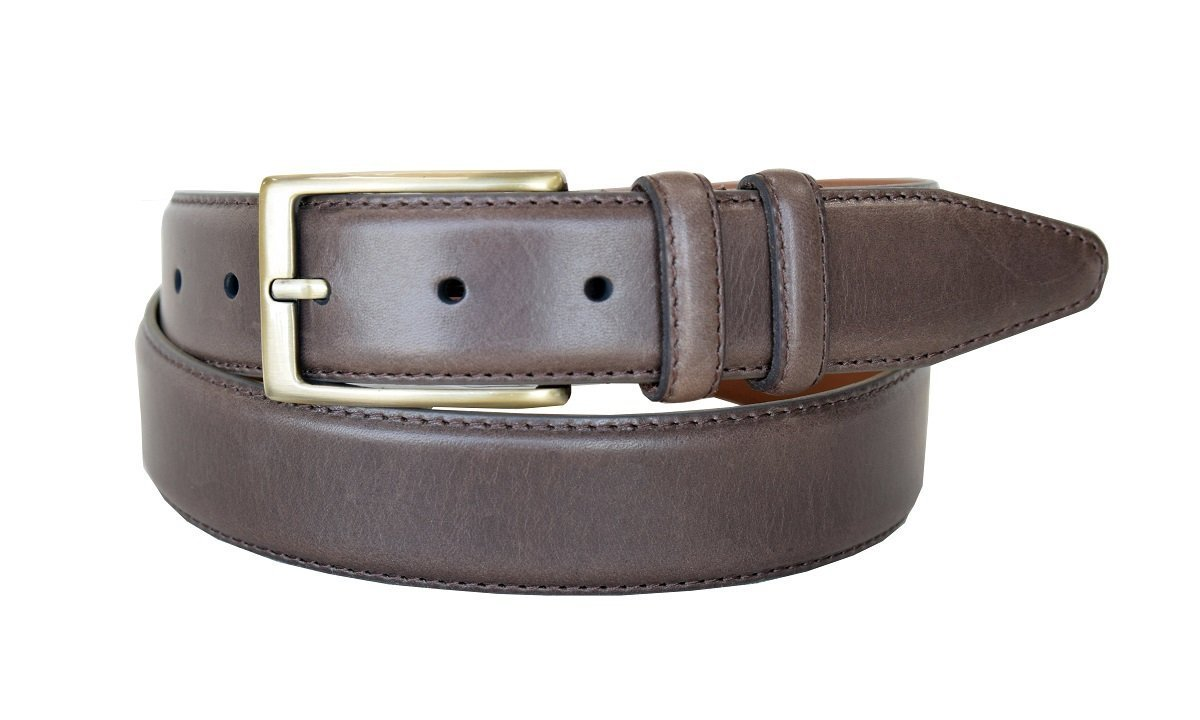 "Lejon Belt 1512 Men's Smooth Leather Dress Belt 1-3/8"" Wide Made in USA (Brow... - $19.75"