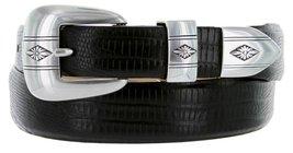 Silver Diamond Italian Calfskin Leather Designer Dress Belts for Men(48, Liza... - $29.20