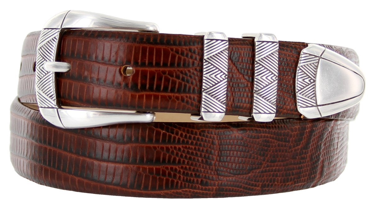 Martin Italian Calfskin Leather Designer Dress Belts for Men (50, Lizard Brown) - $29.20