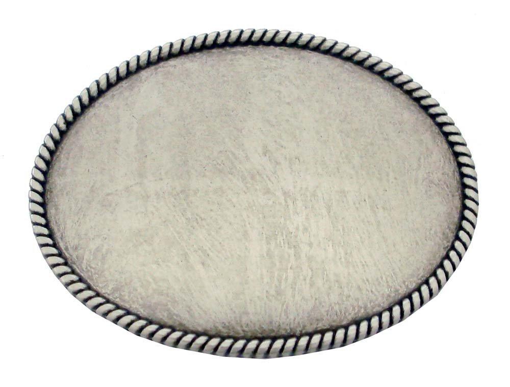 Silver Rope Edge Plain Belt Buckle Antique Nickel Finish - $8.89