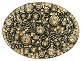 Antique Brass Oval Engraved Lt. Col Topaz Belt Buckle - $16.82