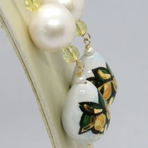 Yellow Gold Earrings 750 18K Pearls Fw and Drop Hand Painted by Made in Italy - image 3