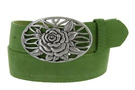 Silver Rose And Vines Buckle With Genuine Suede Leather Belt Strap In Green - $681,93 MXN