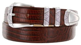 Martin Italian Calfskin Leather Designer Dress Belts for Men (42, Lizard Brown) - $29.20