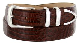 Vins Italian Calfskin Leather Designer Dress Belts for Men (48, Lizard Brown) - $29.20