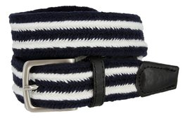 Woven Braided Soft Fabric Leather Casual Dress Belt for Women (Navy/White, X-... - $13.85