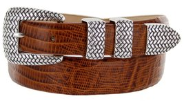 Java Italian Calfskin Leather Designer Dress Golf Belt for Men (34, Lizard Tan) - $29.20