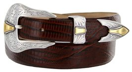 Colorado Italian Calfskin Leather Designer Dress Belts for Men(48, Lizard Brown) - $29.20