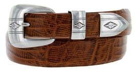 Silver Diamond Italian Calfskin Leather Designer Dress Belts for Men(34,... - $29.20