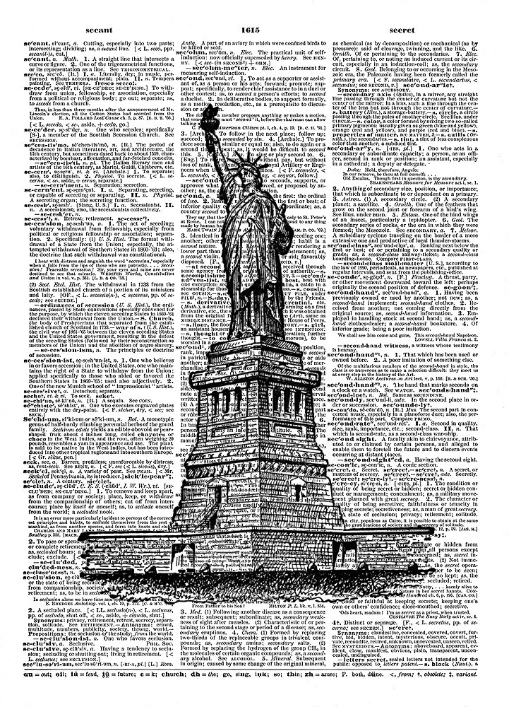 STATUE OF LIBERTY New York Harbor Vintage Dictionary Page Art Print No. 0091