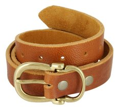 Made in USA Hand Cut Full Grain Brass Buckle Thick Leather Belt for Women (Ta... - $34.64