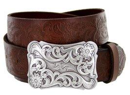 "Men's Cowtown Western Tooled Full Grain Leather Belt 1 1/2"" Wide Black Brown ... - $26.23"