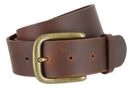 Big and Tall Mens Oil Tanned Solid Leather Belt with Vintage Metal Buckle(Bro... - $39.59