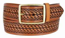 "Square Buckle Basketweave Work Uniform Genuine Leather Belt 1.75"" for Women (... - $24.74"
