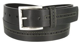 Lejon Center Stitched Perforated Oil Tanned Harness Leather Dress Belt (Black... - $28.66