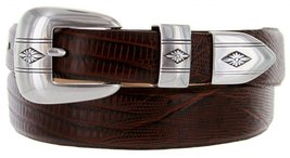 Silver Diamond Italian Calfskin Leather Designer Dress Belts for Men (32, Liz... - $29.20