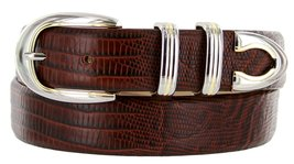 Coronado Italian Calfskin Leather Designer Dress Belts for Men (32, Lizard Br... - $29.20