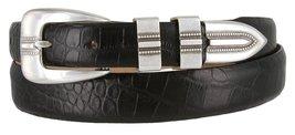 Vincent Silver Genuine Italian Calfskin Leather Designer Dress Belt for Women... - $29.69