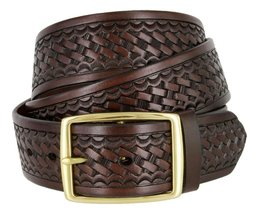 "Square Buckle Basketweave Work Uniform Genuine Leather Belt 1.75"" for Men (Br... - $24.74"