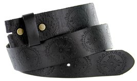 Filigree Pattern Solid One-Piece Black Leather Belt Strap (30, Black) - $18.76