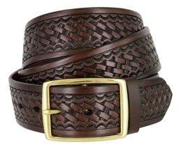 """Square Buckle Basketweave Work Uniform Genuine Leather Belt 1.75"""" for Men (Br... - $24.74"""
