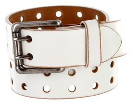 Metro Antique Twin Roller Buckle Vintage Leather Belt White 44 - $28.65