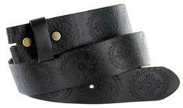 Filigree Pattern Solid One-Piece Black Leather Belt Strap (36, Black) - $18.76