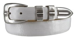 Vincent Silver Genuine Italian Calfskin Leather Designer Dress Belt for Men(A... - $29.69