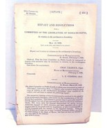 May 1838 Massachusetts Congress 2d Session Senate Report And Resolutions  - $29.99