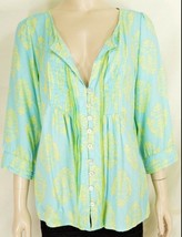Escapada top SZ L aqua & yellow pleats front + back  ruffles low cut 3/4... - $19.79