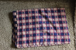 """Navy Blue/Tan Red Star 55"""" wide 76"""" lg Country Table Cloth VGC Reversabl... - $18.99"""