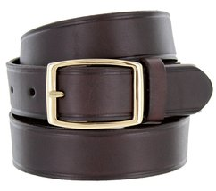 """Full Leather Work Uniform Belt with Rectangular Buckle 1 and 1/4"""" Wide Brown 46 - $26.23"""