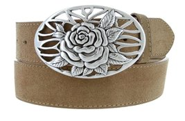 Silver Rose And Vines Buckle With Genuine Suede Leather Belt Strap In Tan, 40 - $29.69