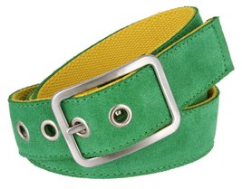 C075/40 Suede With Canvas Backing Center Buckle Belt (Green/Yellow, 32) - $19.75