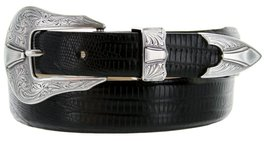 Silver Colorado Italian Calfskin Leather Designer Dress Belts for Men(34, Liz... - $29.20