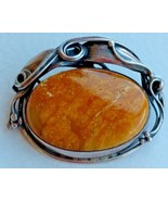 VINTAGE STERLING SILVER  ART NOUVEAU STYLE GENUINE BALTIC AMBER PIN POLAND - $145.52