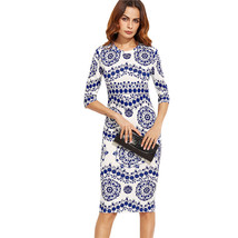 Women White Long Sleeve Floral Midi Bodycon Office wear Dress - $40.00