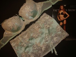 Victoria's Secret Bra Set+Garter Skirt Bridal Mint Crystallized Sexy Seduction - $89.09+