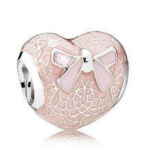 Pink Bow & Lace Heart, Transparent Misty Rose & Soft Pink Charm Bead QJC... - €16,05 EUR+